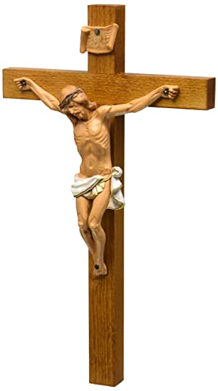 Crucifixes Fontanini Crucifix Features a Hand Painted Body of Christ on a Wood Cross, 12