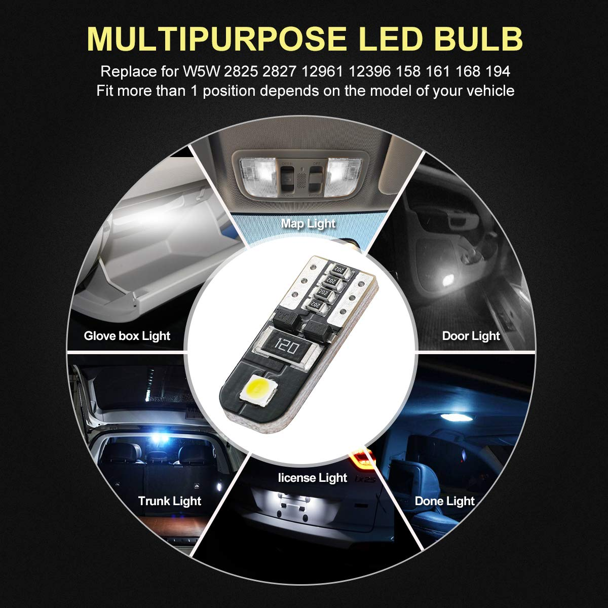 NAKOBO T10 194 CAN-Bus LED Light 6000K White Super Bright Bulb 168 2825 W5W 12961 Wedge 2-SMD 3030 Chipset Replacement Bulbs for Car Map Door Courtesy Dome License Plate Lights(pack of 10)