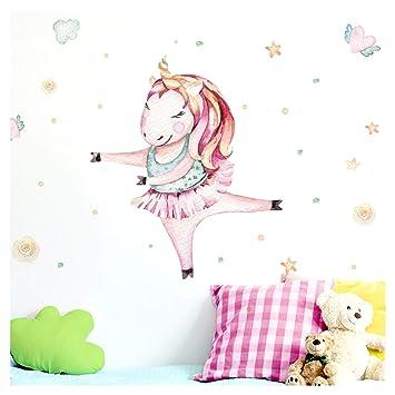 Little Deco Wandtattoo Kinderzimmer Madchen Einhorn Ballerina Herz Sterne I Bxh 43 X 50 Cm I Babyzimmer Aufkleber Sticker Wandaufkleber