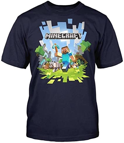 Jinx Men's Minecraft Adventure with Logo T-Shirt,Navy Blue with Logo,Medium