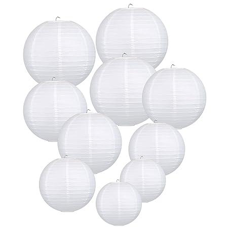 LIHAO weiße Papier Laterne Lampions rund Lampenschirm Hochtzeit Dekoration Papierlaterne - (10er Packung) (verschiedene Größe