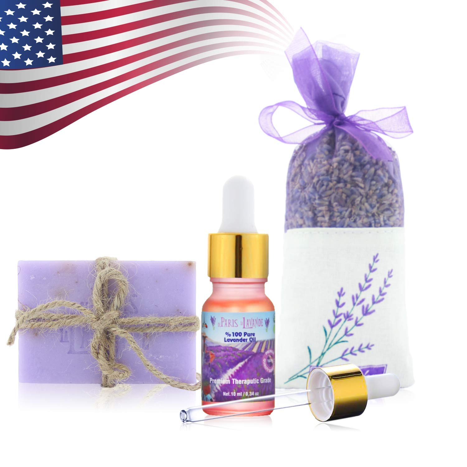 De Paris Le Lavande-Lavender Oil 10 milliliter- Glass Dropper-Lavender Bar Soap- Lavender Sachet-100 Percent Pure- All Natural -Sleep Aroma Therapy, Relaxing Bath, and  Massage