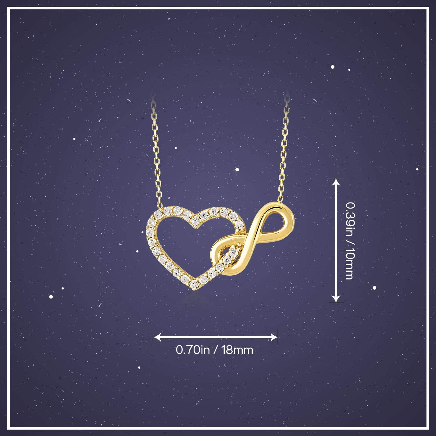 Gelin 14k Real Yellow Gold CZ Infinity and Heart Connected Pendant Chain Necklace for Women 18 inch