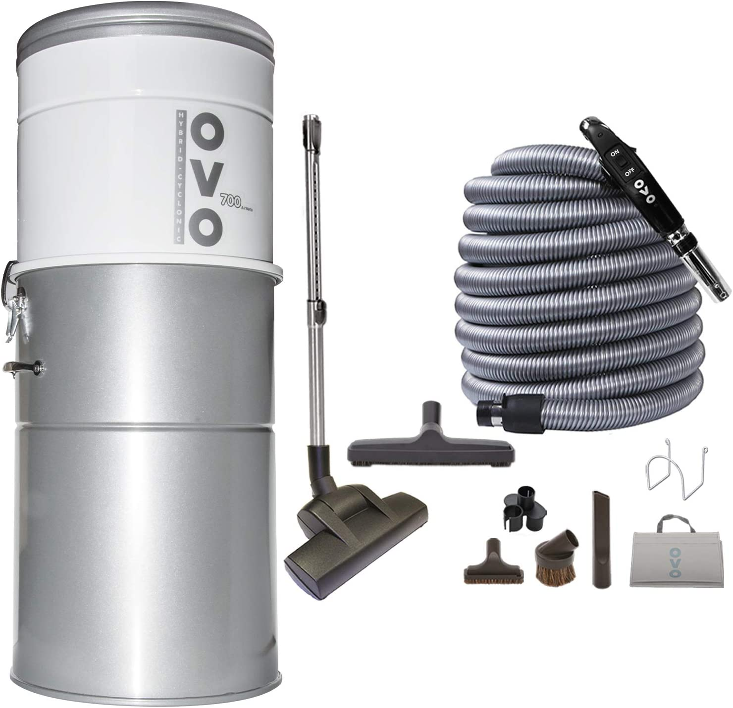 OVO PAK70DP-40 Vacuum System-Heavy Duty Central Vac with Hybrid Filtration-35L or 9.25Gal-700 Airwatts Power Unit, 40ft Deluxe Plus Switch Control Attachment Kit Included, Sliver