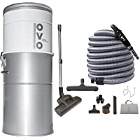 OVO Heavy Duty Powerful Central Vacuum System, Hybrid Filtration (With or Without disposable bags) 35L or 9.25Gal, 700 Air watts with 30 ft Deluxe plus Accessory Kit, Large Vac, Sliver