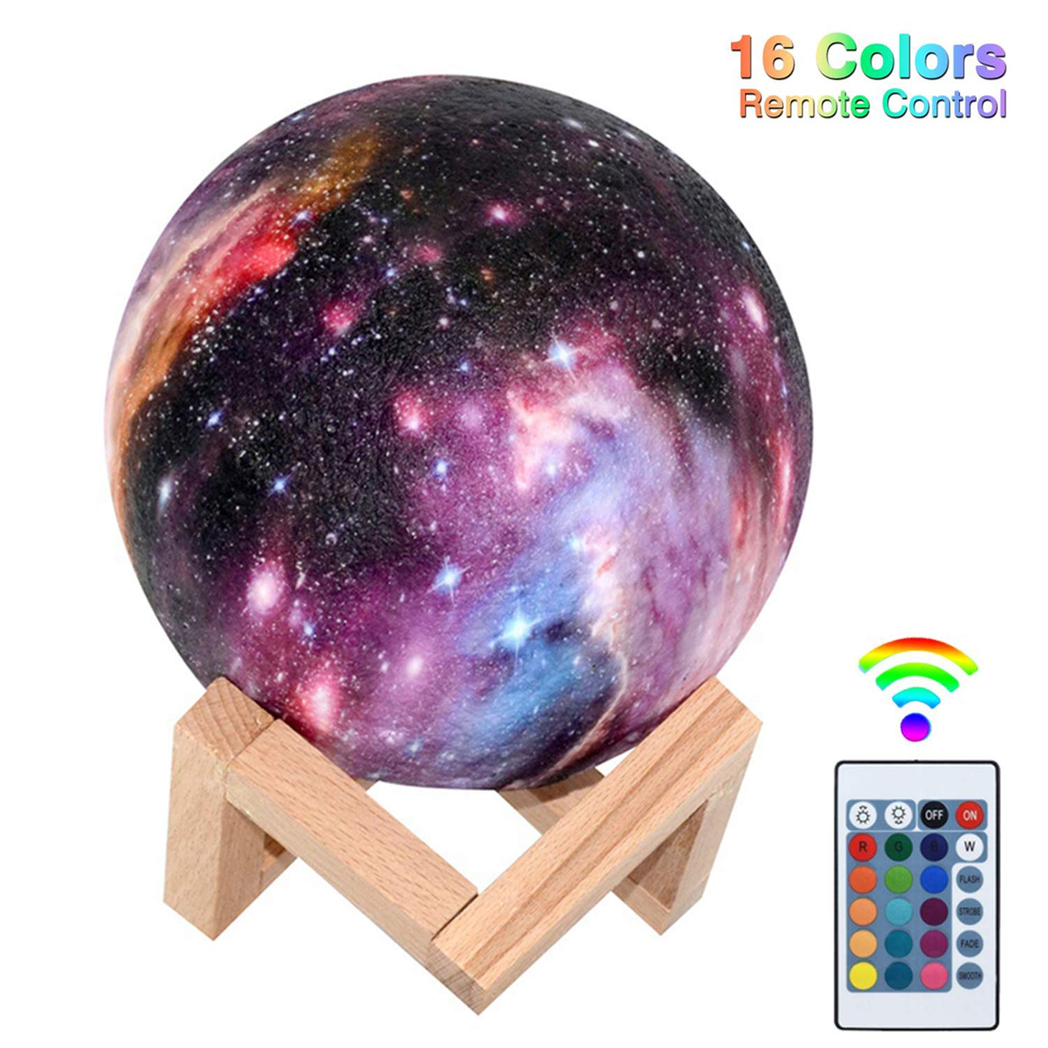 Moon Lamp Kids Baby Night Light 3D Print 16 LED Colors Changing Touch and Remote Control Moon Light Decoration Gift for Birthday Christmas(5.9 inch)
