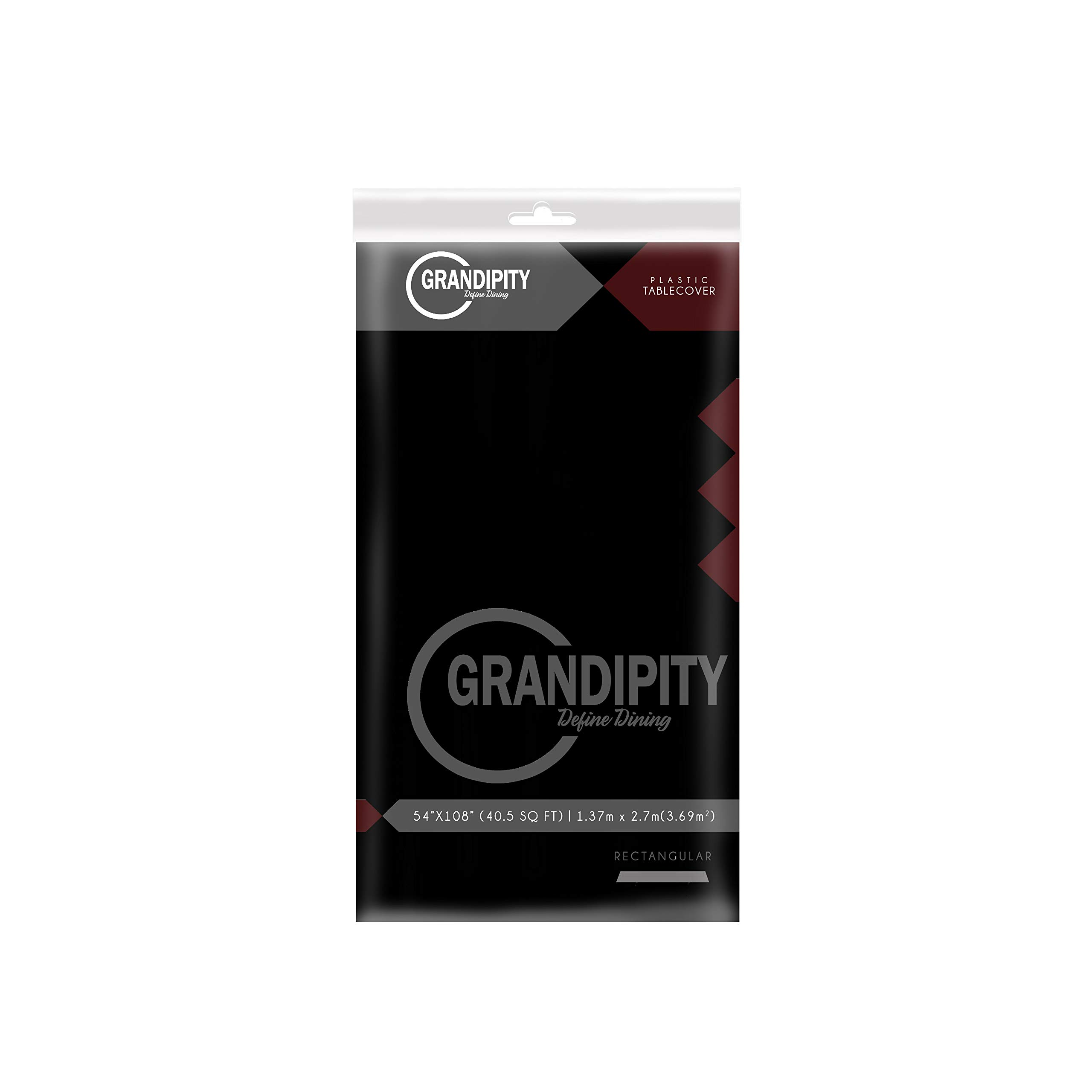 Black 12 Pack Premium Disposable Plastic Tablecloth 54 Inch. x 108 Inch. Rectangle Table Cover By Grandipity by Grandipity (Image #2)