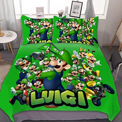 MEW Anime Full/Queen Bedding Duvet Cover Set,Super Mario Luigi,3 Pieces Bedding Set,with Zipper Closure and 2 Pillow Shams,Cute Boys Girls Comforter Sets,Luxury Bedroom Decorations: Kitchen & Dining