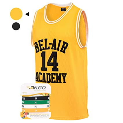 f82d2d084 AFLGO Fresh Prince of Bel Air  14 Basketball Jersey S-XXXL Yellow - 90 s  Clothing Throwback Will Smith Costume Athletic Apparel Clothing Top Bonus  Combo Set ...