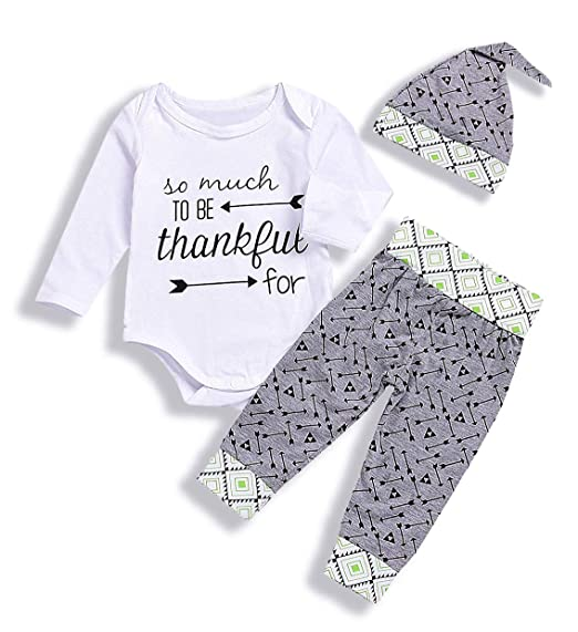 2cfce553117 Cute Baby Boy Girl Thankful Printing Romper+Arrow Long Pants And Hats 3pcs  Outfit Set