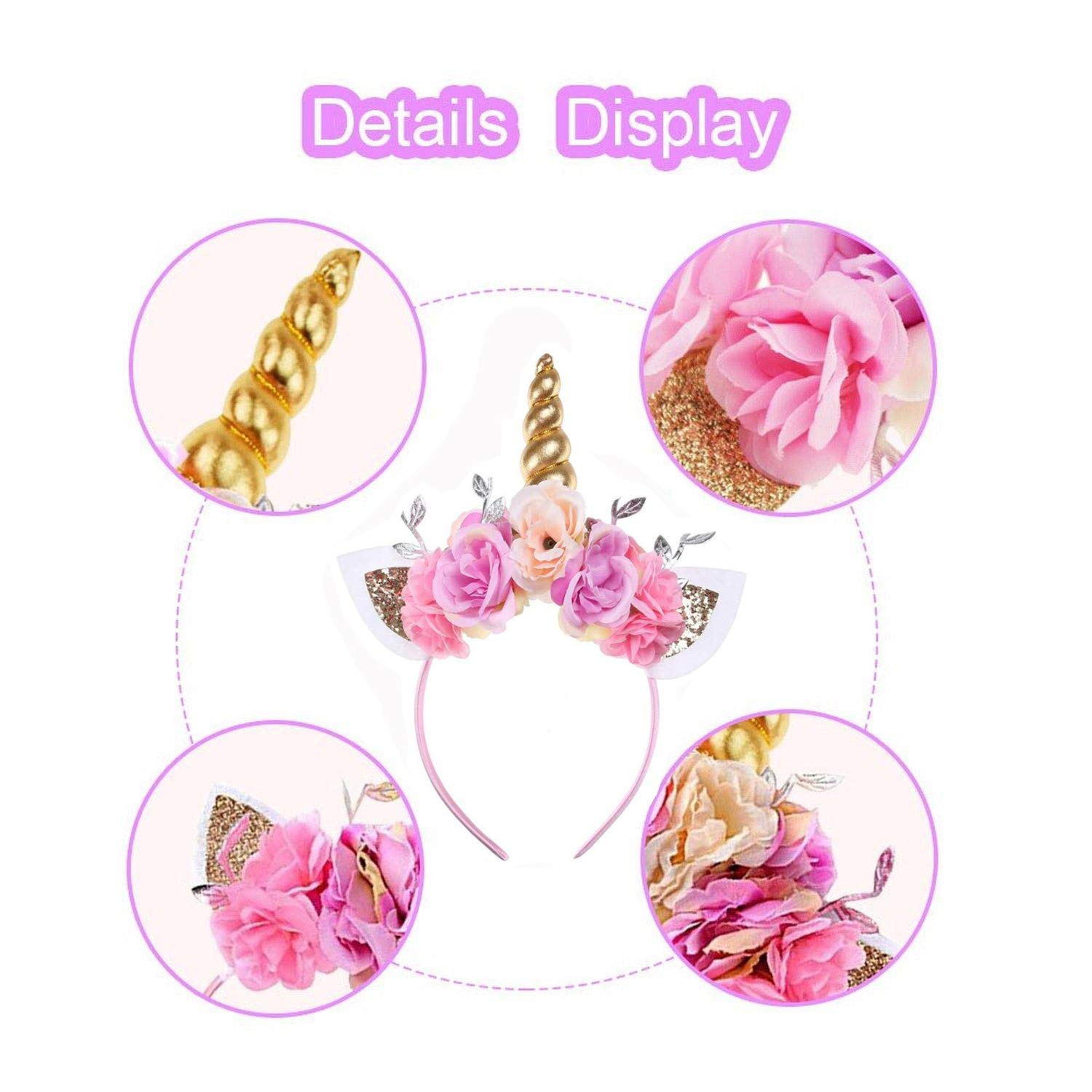 Kids Girls Unicorn Headband Gold Horn Ears Flower Headband Glitter Horn Headband Flowers Headwear Accessory for Christmas Party Cosplay Costume Birthday