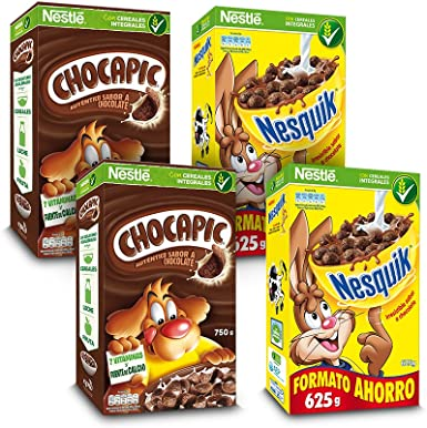 Cereales Nestlé - Chocapic (Pack de 2 x 750 g) + Nesquik (Pack de 2 x 675 g): Amazon.es: Alimentación y bebidas