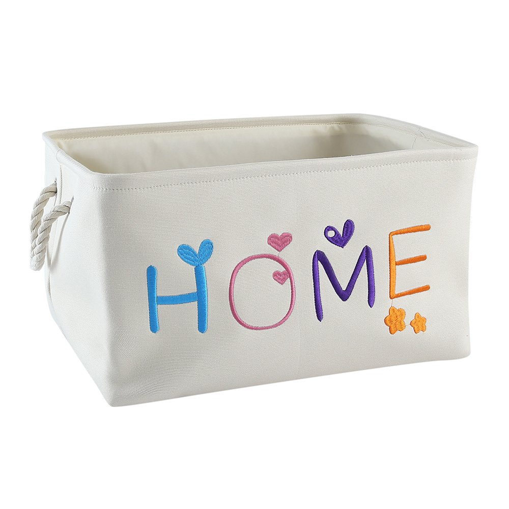 TheWarmHome Foldable Fabric Canvas Storage Bins Toy Box Decorative Gift Basket Liner,Beige Handmade Embroidery (15.7×11.8×8.3inch)