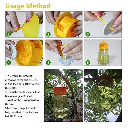 KOBWA trampa para moscas de frutas, dispositivo portátil para trampas de moscas, atrapa insectos rellenables, trampa para drosophila súper eficaz, ...