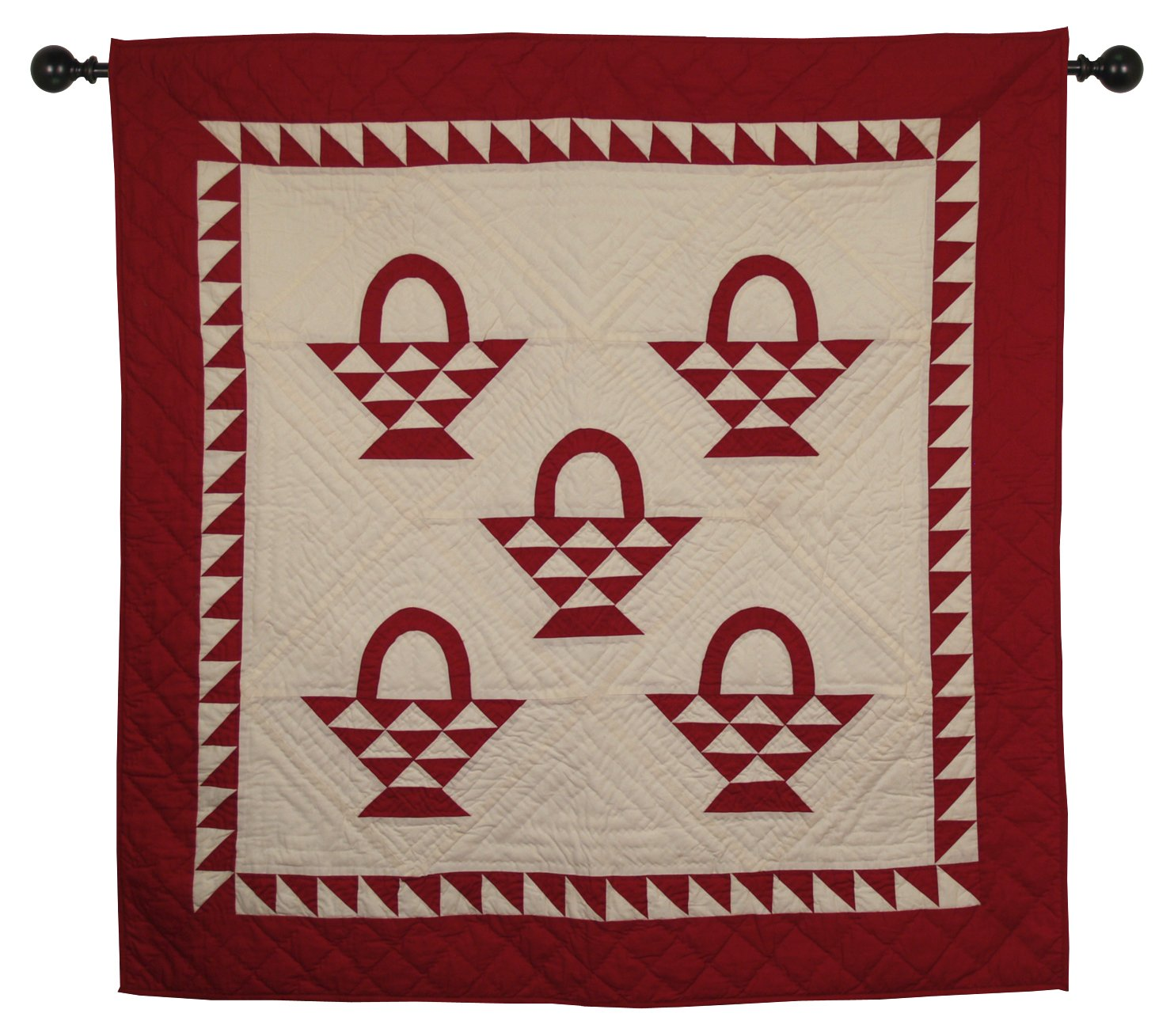 Basket Cranberry Red / Off-White Wall Hanging Quilt 44 Inches by 44 Inches 100% Cotton Handmade Hand Quilted Heirloom Quality