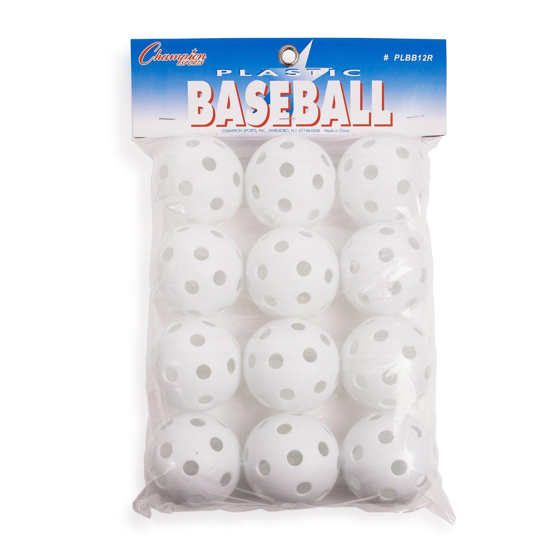 Champion Sports PLBB12R White Plastic Baseball Set