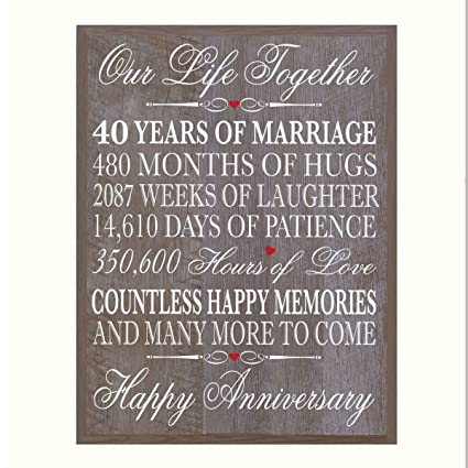 40th Wedding Anniversary.Lifesong Milestones 40th Wedding Anniversary Wall Plaque Gifts For Couple 40th For Her 40th Wedding For Him 12 Wx 15 H Wall Plaque Barnwood