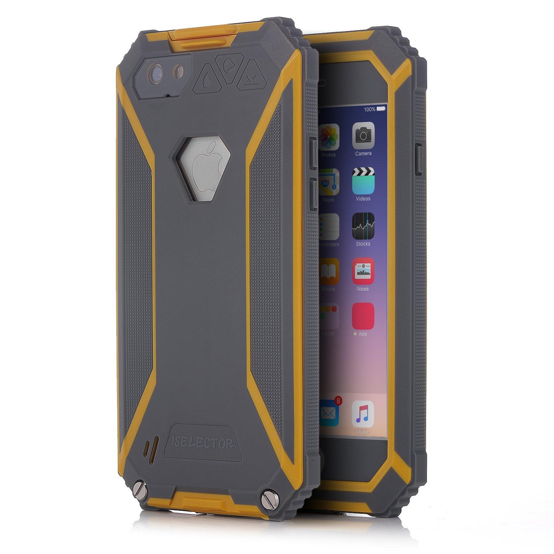ISELECTOR®套为iPhone 6 / 6s,封面/箱/套,防水防震防尘Snowproof坚固的划痕保护适配器,带耳机(4.7英寸,灰色和黄色)