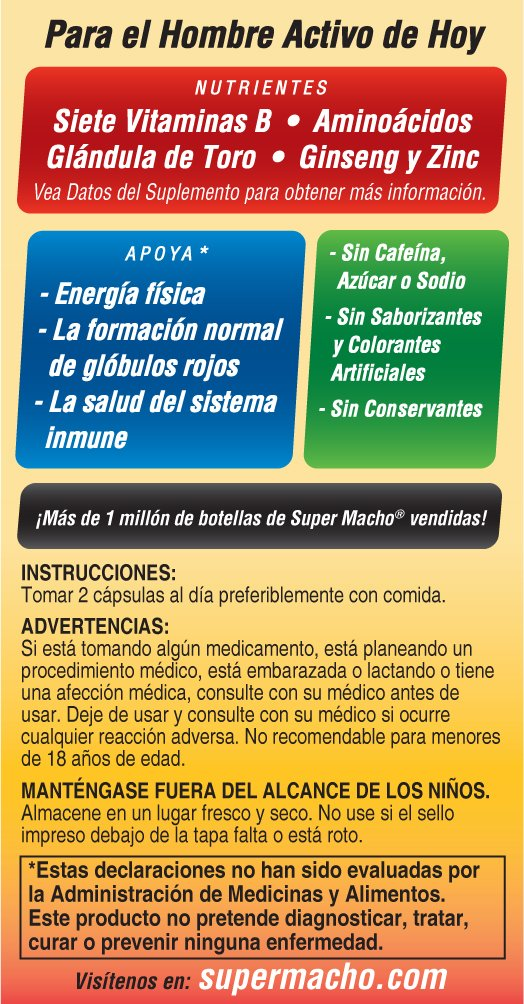 Amazon.com: Super Macho High Potency Vitamin B Softgels, 50 Capsules: Health & Personal Care