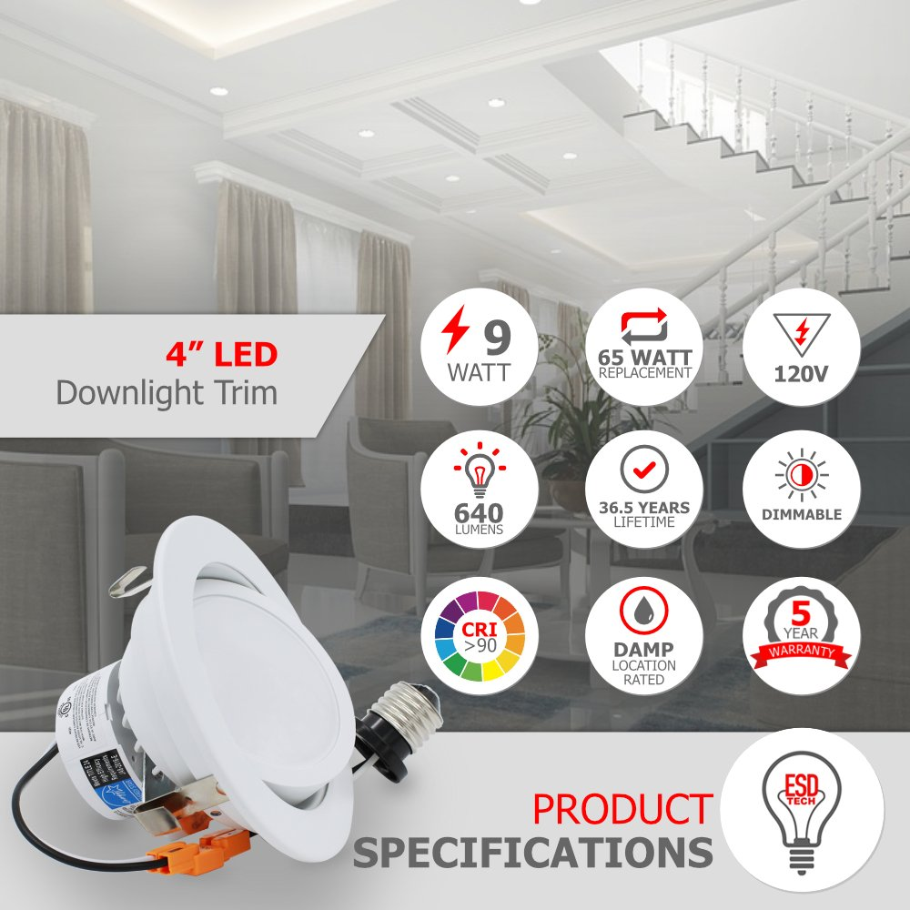 ESD Tech 4 pulgadas LED de intensidad regulable retrofit - Foco empotrable, borde Sustitución de 9 W (65 W), 3000 K Gimbal diseño, Energy Star, UL Listed, ...