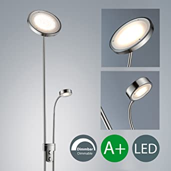 B K Licht lampadaire LED avec liseuse fexible dimmable lampe