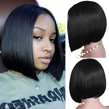 Vanessa Queen Short Cut Bob Wigs For Black Women Silky Straight Synthetic Lace Front Wig 12Inch