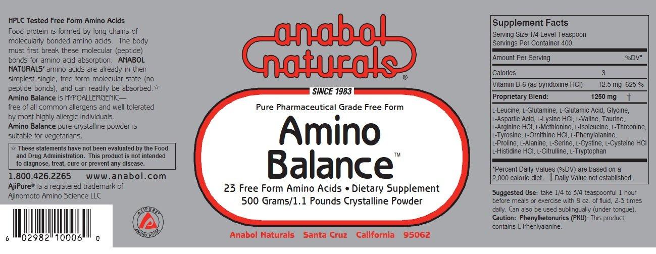 Anabol Naturals Energy Stack: Amino Balance 500 gram pure powder & Creatine 500 gram pure powder (5 month supply)