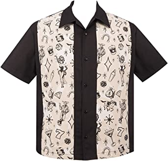 Steady Clothing Hombre Vintage Bowling camisa – Vegas Lights panel retro Bolos Camiseta negro XXX-Large: Amazon.es: Ropa y accesorios