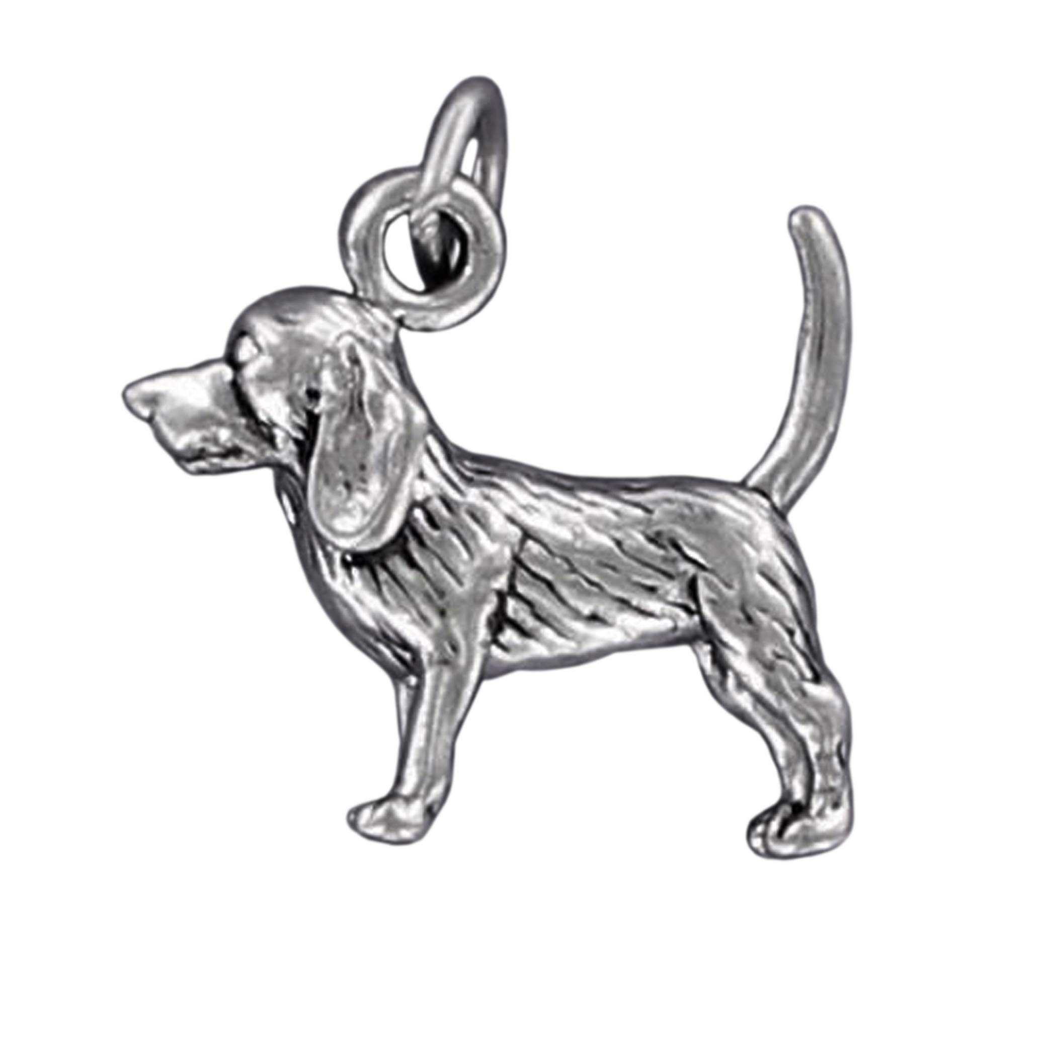 Beagle Dog Charm Sterling Silver for Bracelet Puppy Brown Spots Friendly Pet Jewelry Making Supply, Pendant, Charms, Bracelet, DIY Crafting by Wholesale Charms
