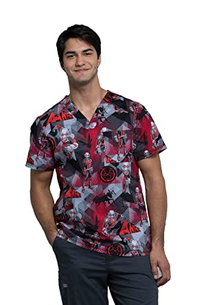 a7b39c3ae73 Image Unavailable. Image not available for. Color: Cherokee Tooniforms  Men's V-Neck Ant Man Print Scrub Top ...