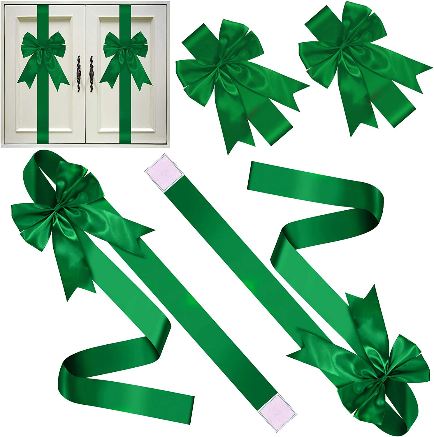 6 Pieces Christmas Cabinet Festive Ribbons Christmas Door Ribbon and Bows for Christmas Party Decorations (Green)