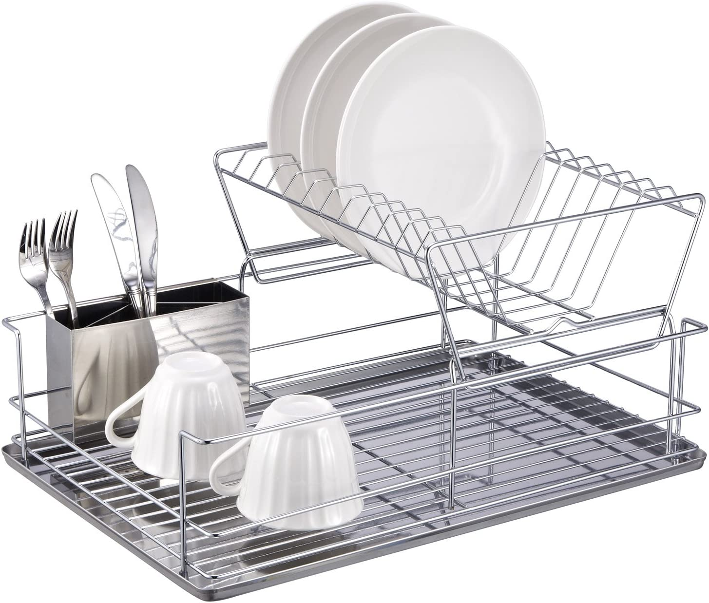 Amazon.  Home Basics 2 Tier Steel Dish Rack with Removable