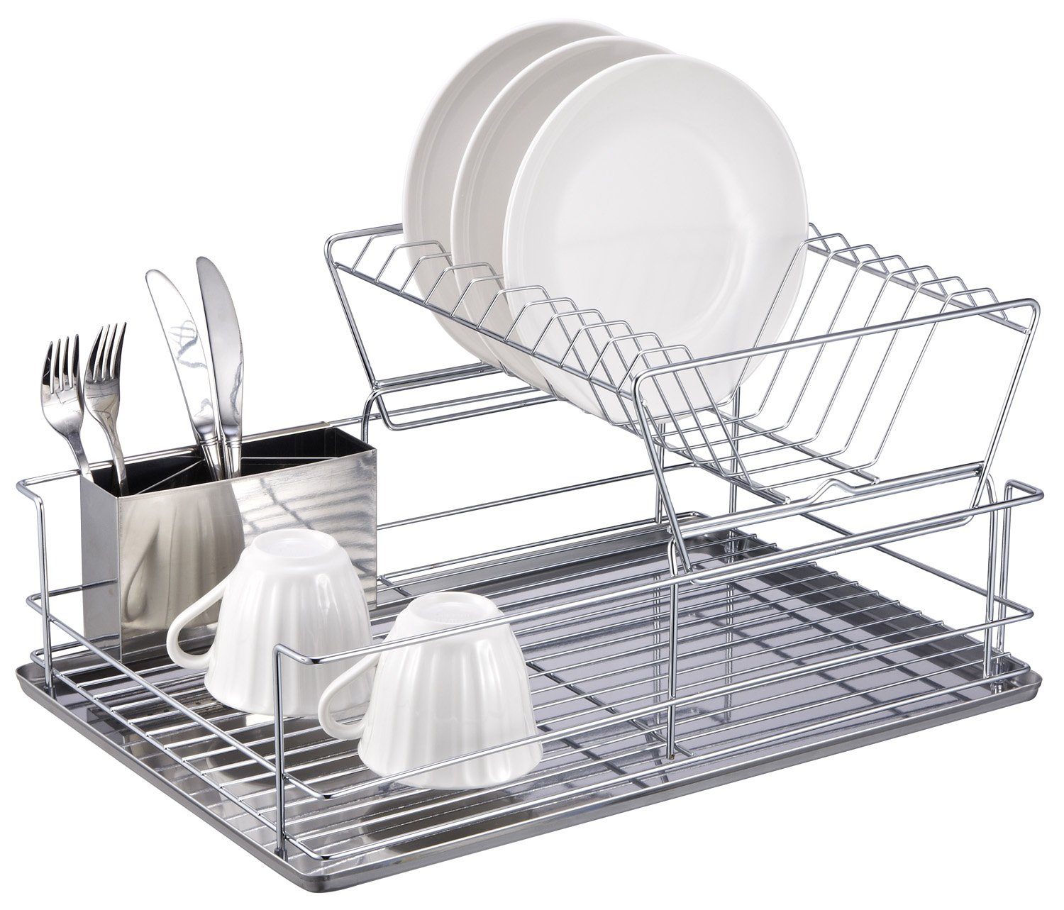Wonderful Amazon.com   Home Basics 2 Tier Steel Dish Rack With Removable Utensil Cup    Draining Dish Rack
