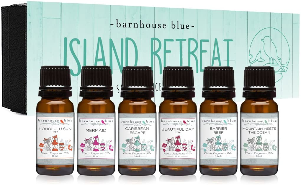 Island Retreat Gift Set of 6 Premium Fragrance Oils - Barrier Reef, Mountain Meets The Ocean, Beautiful Day, Caribbean Escape, Honolulu Sun, Mermaid - Barnhouse Blue