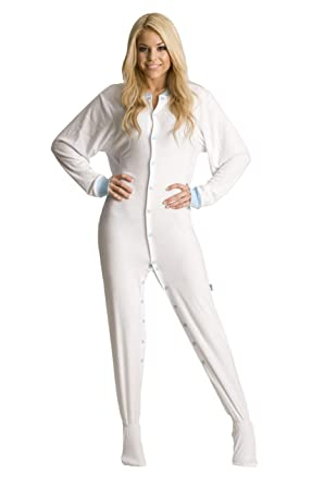 ABDL Supply White Terry Cloth Adult Footed Pajamas (X-Small)