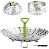 "Steamer Basket Stainless Steel Vegetable Steamer Basket Folding Steamer Insert for Veggie Fish Seafood Cooking, Expandable to Fit Various Size Pot (5.1"" to 9"")"