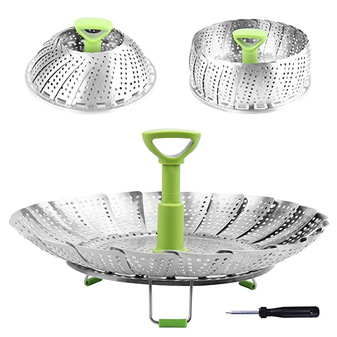 Steamer Basket Stainless Steel Vegetable Steamer Basket Folding Steamer Insert for Veggie Fish Seafood Cooking, Expandable to Fit Various Size Pot ...