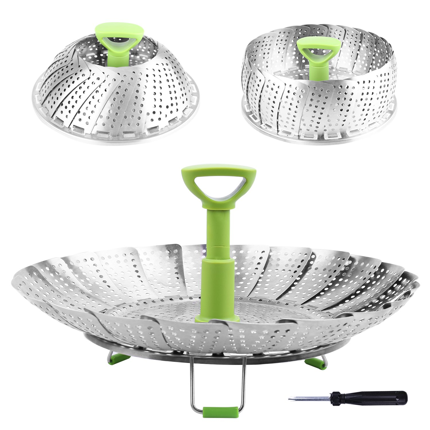 Steamer Basket Stainless Steel Vegetable Steamer Basket Folding Steamer Insert for Veggie Fish Seafood Cooking, Expandable to Fit Various Size Pot (5.1'' to 9'') by Consevisen (Image #1)