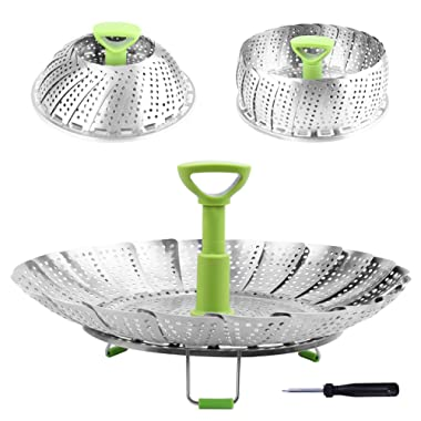 Steamer Basket Stainless Steel Vegetable Steamer Basket Folding Steamer Insert for Veggie Fish Seafood Cooking, Expandable to Fit Various Size Pot (5.1  to 9 )