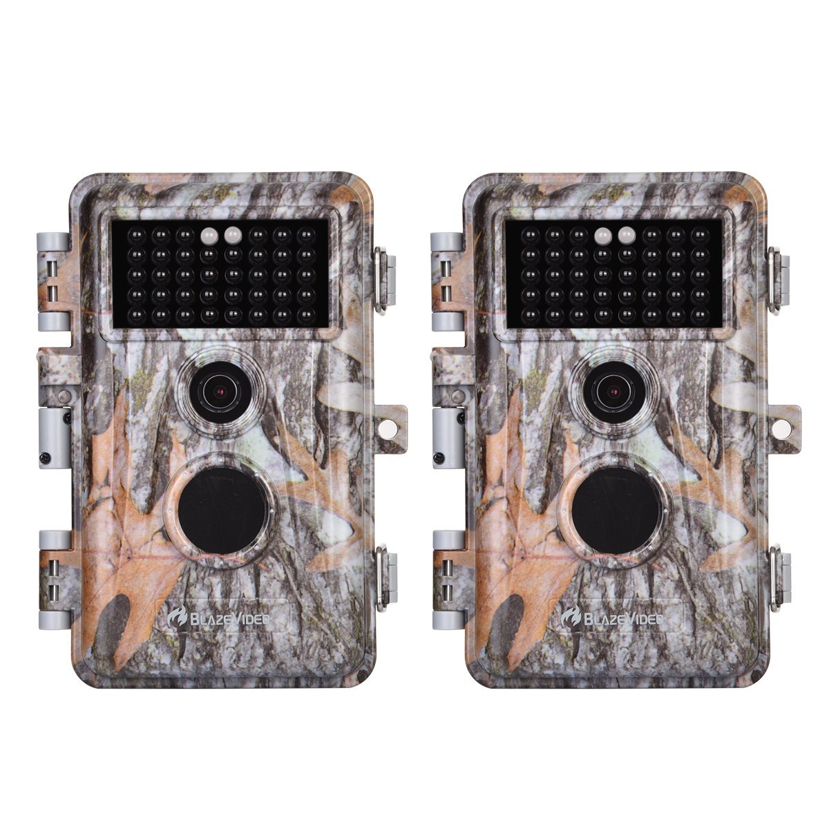 [2019 Upgraded]2-Pack Game Trail & Deer Hunting Cameras 16MP 1080P No Glow Wildlife Cams with Night Vision Motion Activated Waterproof & Password Protected Photo & Video Model Time Lapse & Time Stamp by BlazeVideo