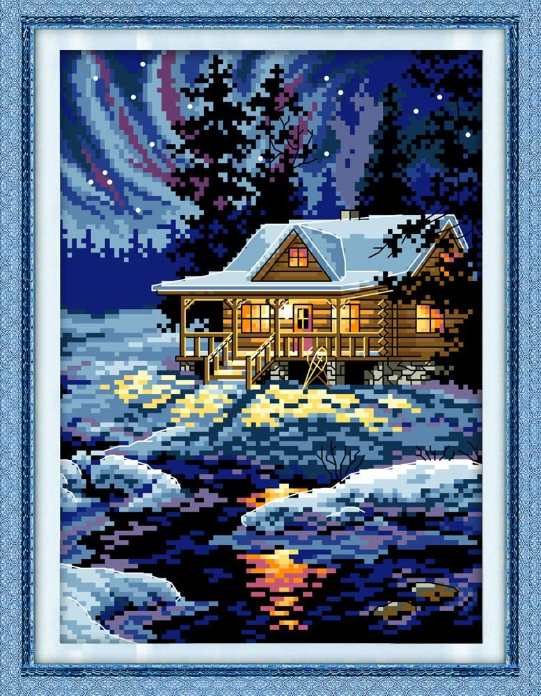 Cross Stitch Counted Kits Stamped Kit Cross-Stitching Pattern for Home Decor 11CT Pre-Printed Fabric Embroidery Crafts Needlepoint Kit Printed Kits,Snow Leopard