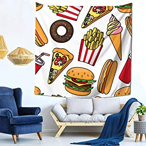 sdachusa Tapestry, Junk Food Drink Pattern Cheeseburger and Drink Tapestry Wall Hanging Art Home Decorations for Living Room Bedroom Dorm Decor (Size:59 X 59 Inches)