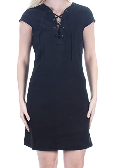 02ecab06f522 Material Girl $59 Womens New 1366 Black Tie Above Knee Tunic Dress S ...