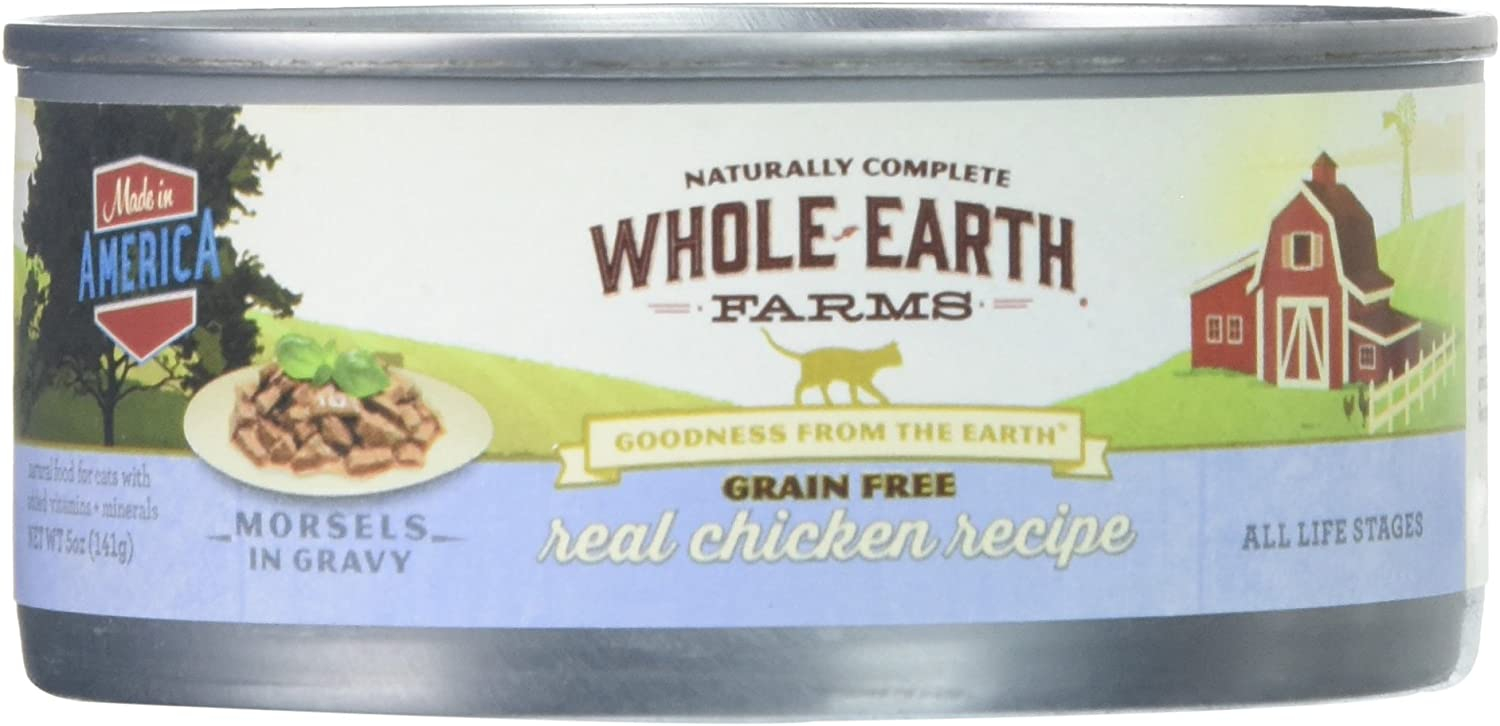 Whole Earth Farms 295255 Grain Free Real Chicken Morsels In Gravy Recipe Canned Cat Food, 24 Count - 5 Oz