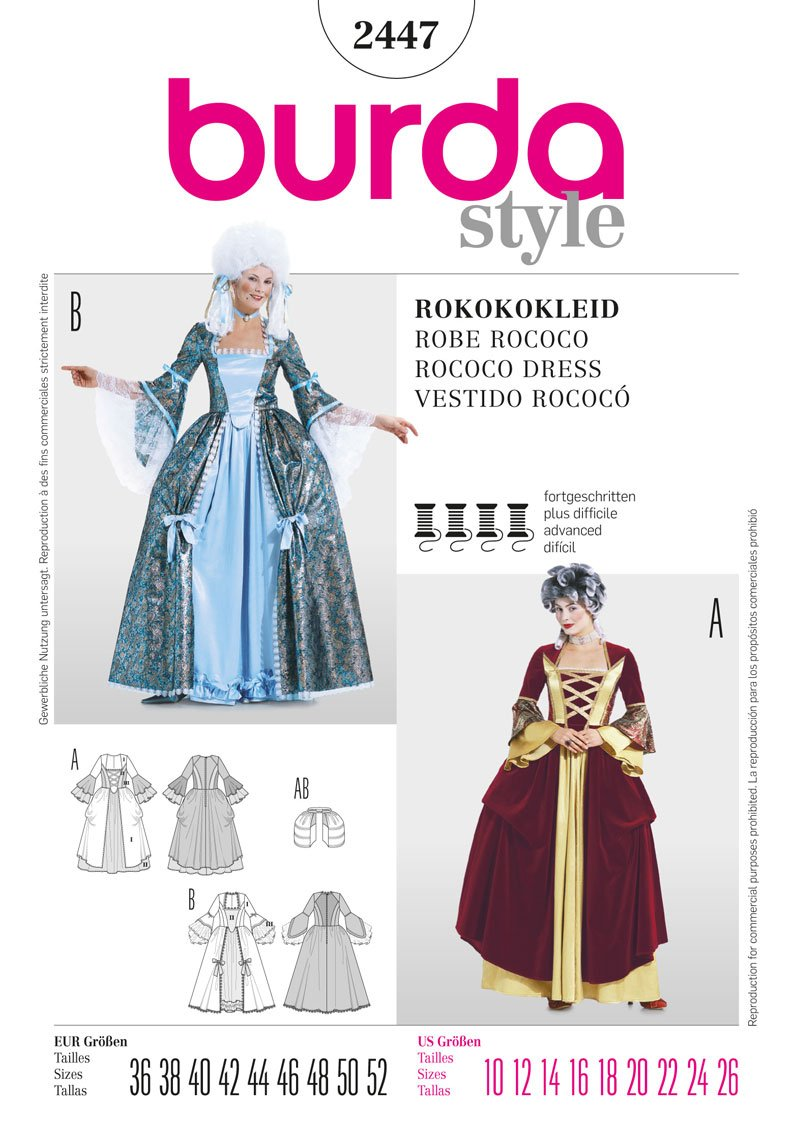Amazon.com: BURDA 2447 Marie Antoinette Rococo Dress HISTORICAL (SIZE 10-26) SEWING PATTERN: Arts, Crafts & Sewing
