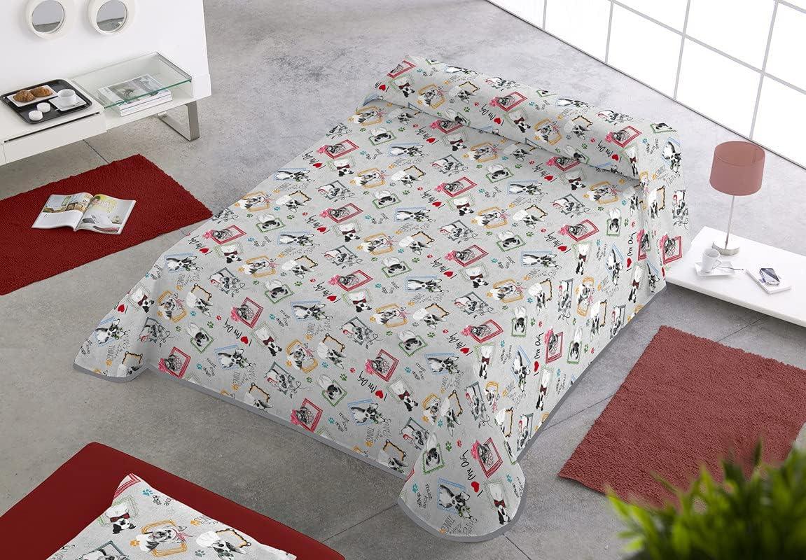 SABANALIA - Colcha Estampada Dogs (Disponible en Varios tamaños), Cama 90-180 x 280