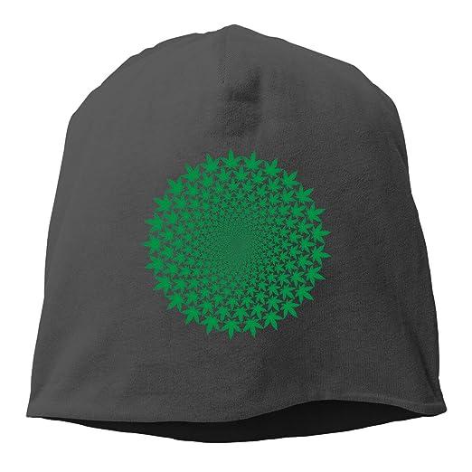 Kla Ju Woman Skull Cap Beanie Marijuana Pattern Headwear Knit Hat Warm  Hip-hop Hat e2fe51fab70