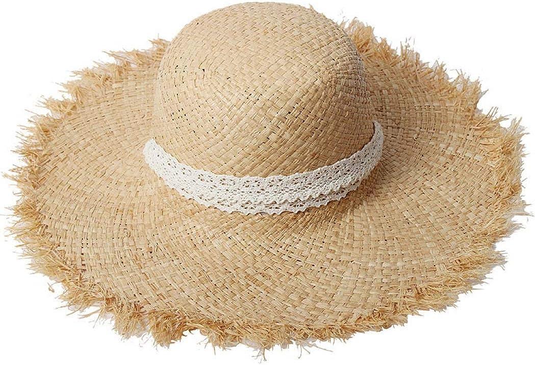 AOBRITON Lady Summer Women Sun Hat Beach Cap Casual Straw Big Brim Shade Sunscreen Hat