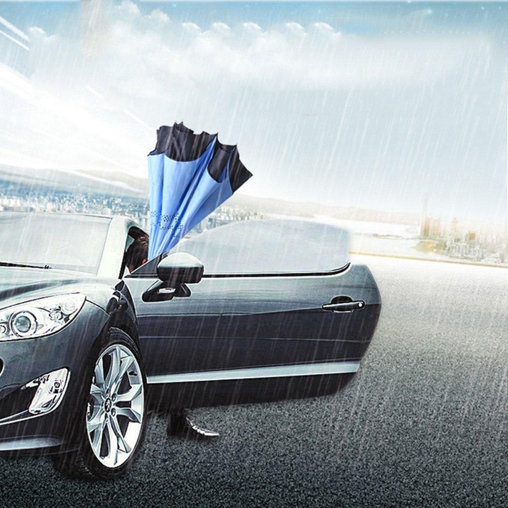 XRXY Tira reflectante Manos libres paraguas de mango largo automático / Creatividad Paraguas reversible automotriz / doble capa Paraguas sombrilla / doble ...