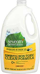 Seventh Generation 22831CT Natural Automatic Dishwasher Gel, Lemon, Jumbo 70 oz Bottle, 6/CT